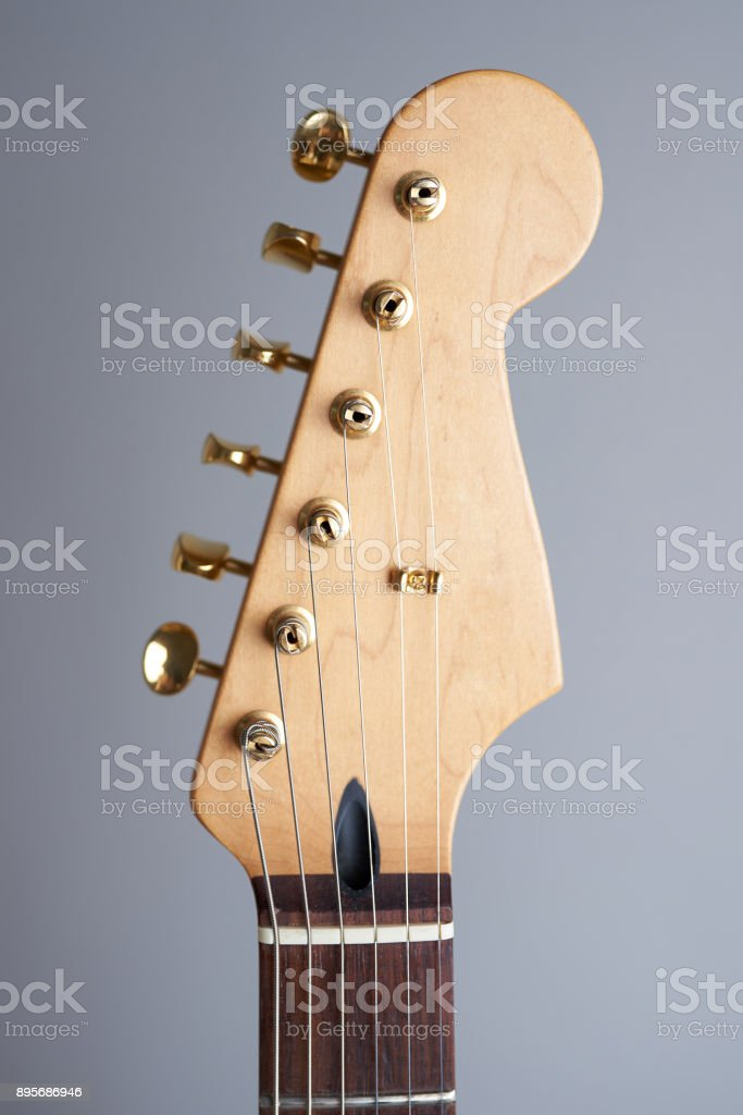 Headstock of guitar stock photo