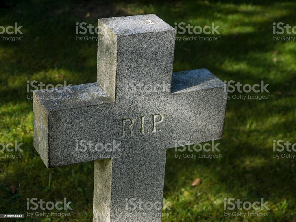 Headstone cross stock photo