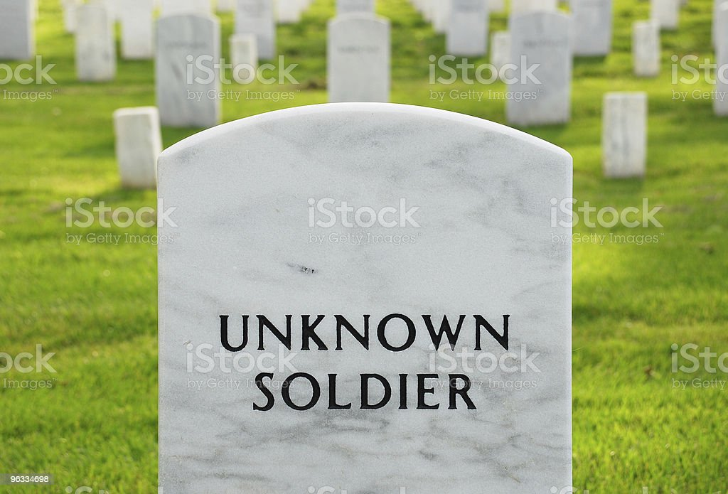 Headstone of an unknown soldier at Arlington National Cemetery royalty-free stock photo