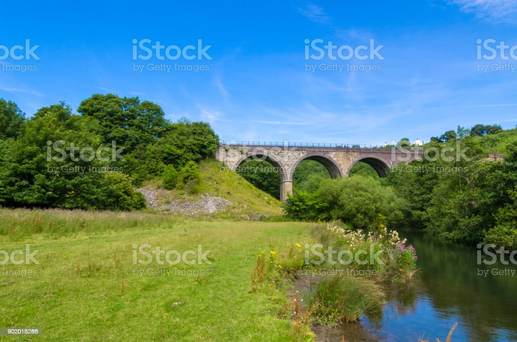 Headstone Viaduct  and the Wye River under a blue summer sky stock photo