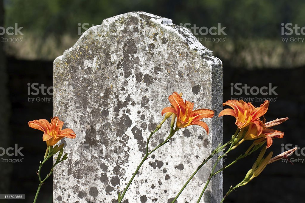 Headstone with Flowers, Spring Hill, TN stock photo