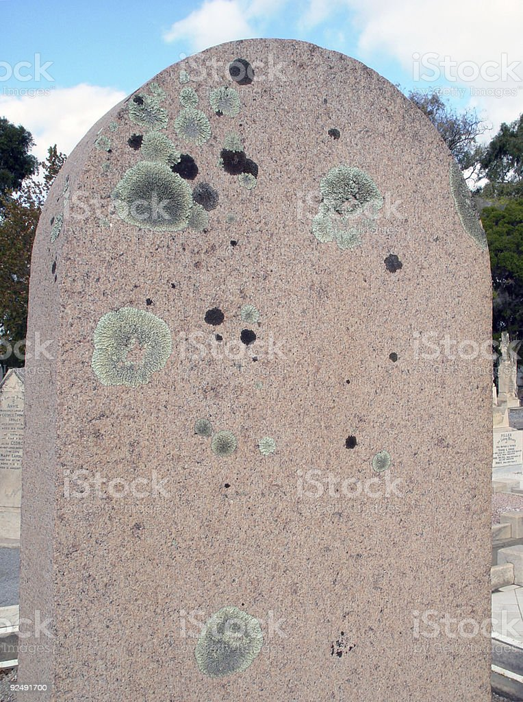 Headstone with lichen royalty-free stock photo