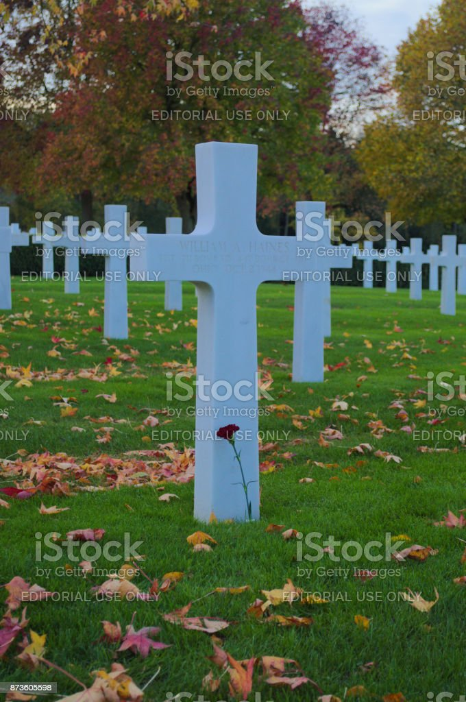 Headstone with single red rose stock photo