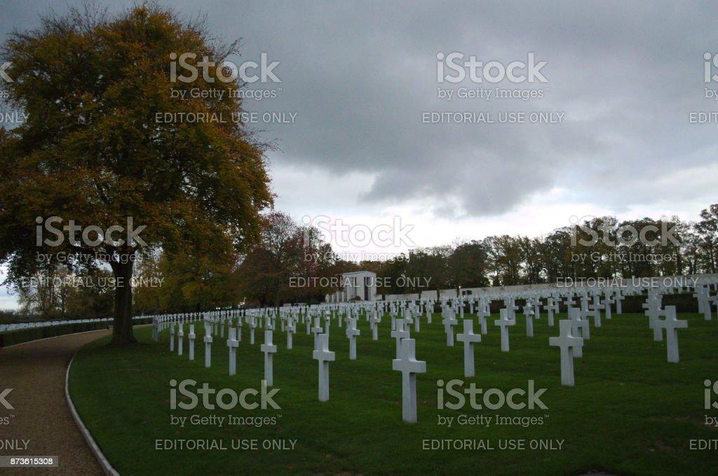 Headstones at Cambridge american Cemetery stock photo