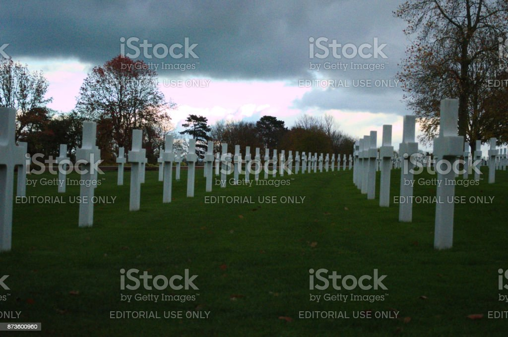 Headstones in a row American cemetary stock photo