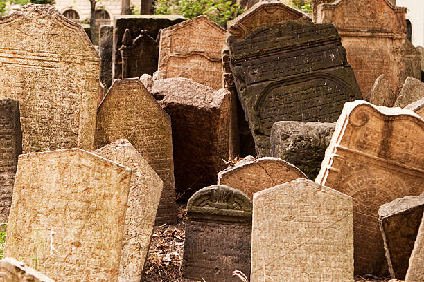 headstones in jewish graveyard - crypt stock pictures, royalty-free photos & images