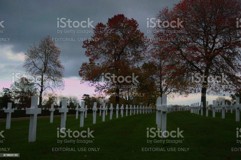 Headstones on Autumn day stock photo