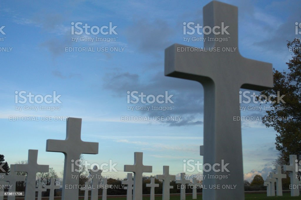 Headstones with blue cloud stock photo