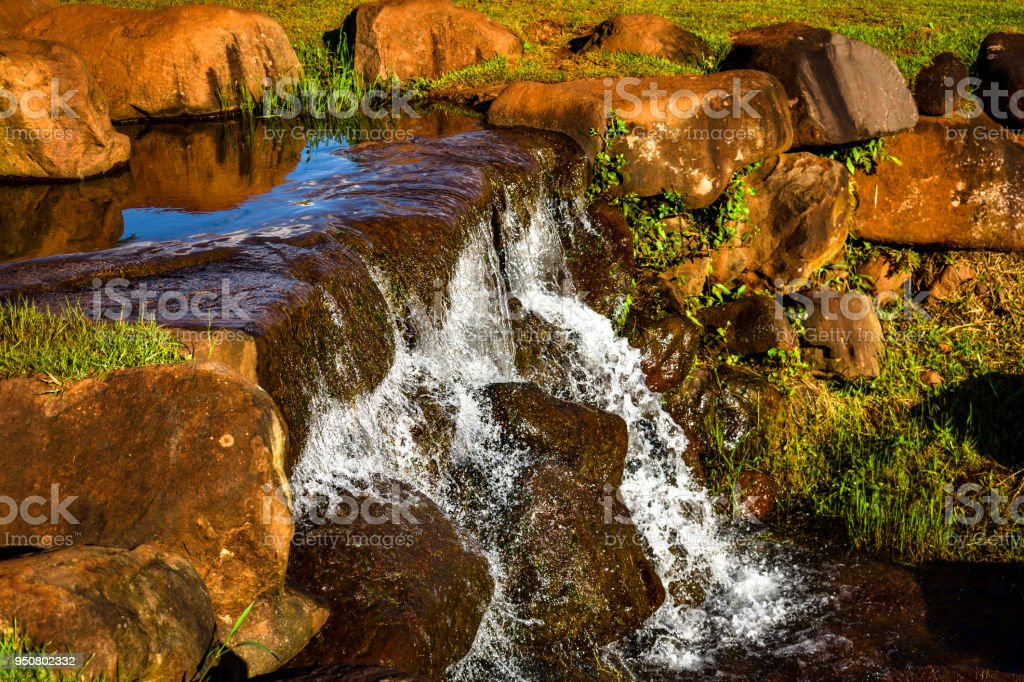 Headwater stream on People's Park ('Parque do Povo'), in the city of Toledo, state of Parana, Brazil stock photo