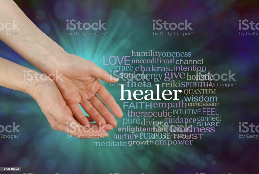 Healer Offering Healing Word Cloud stock photo