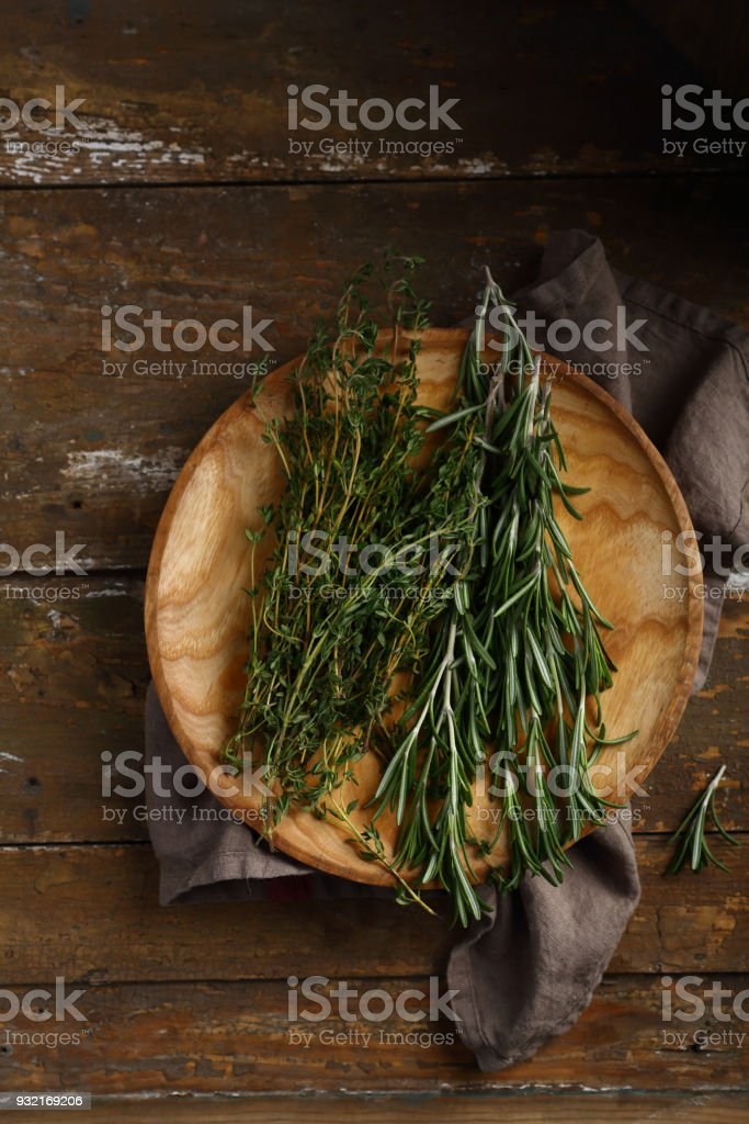 Healhty fresh rosemary and thyme, food above stock photo