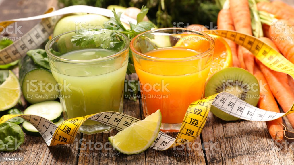 healhty smoothie, fruit and vegetable juice stock photo