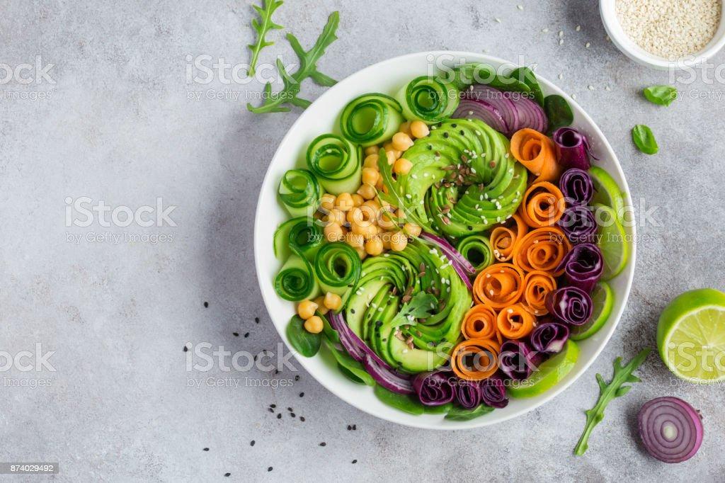 healhty vegan rainbow lunch bowl stock photo