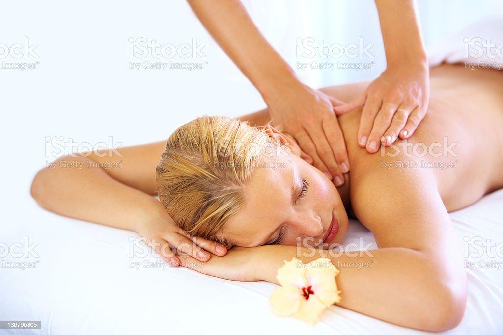 Healing back massage royalty-free stock photo