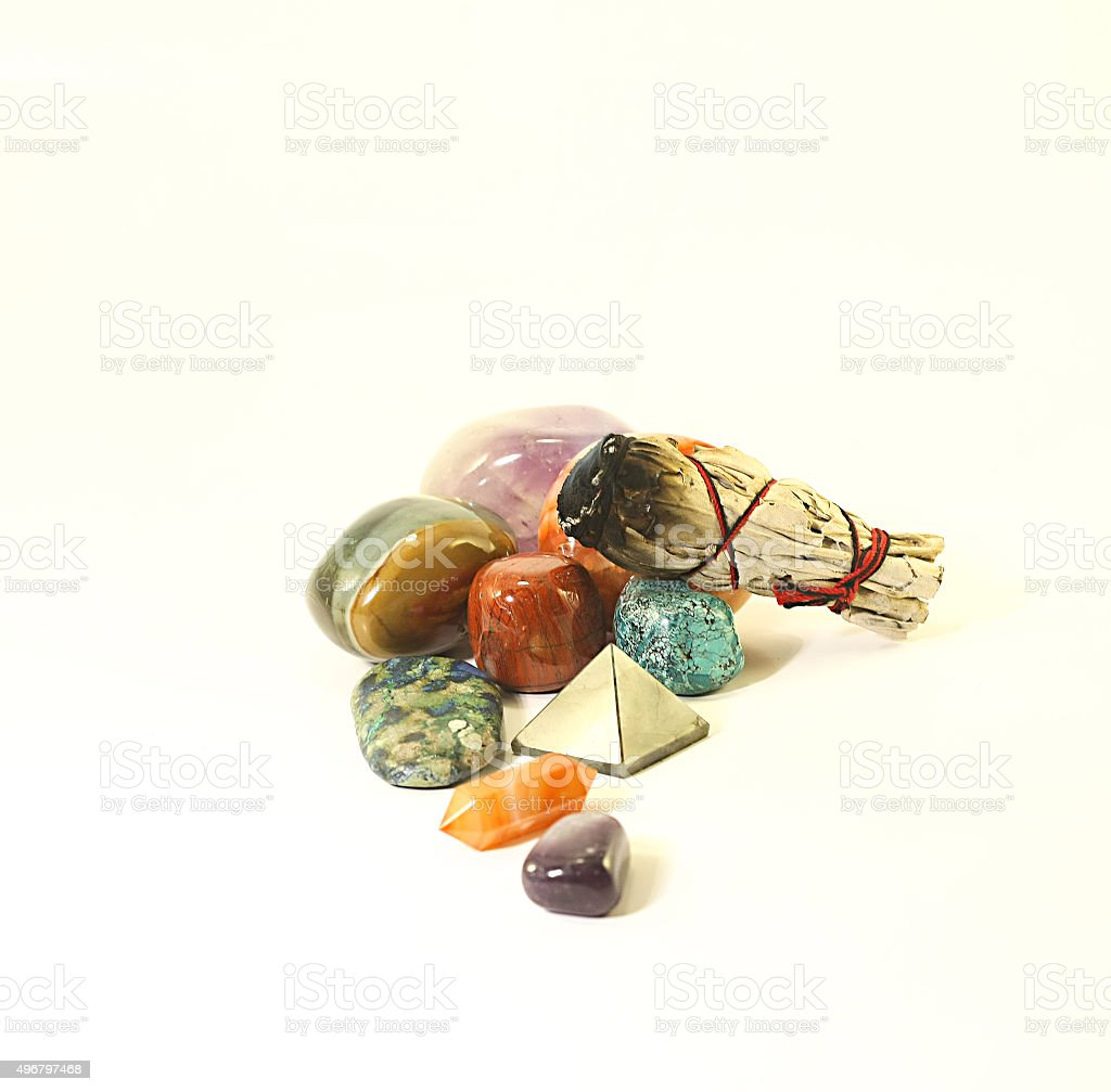 Healing Crystals with Sage stock photo