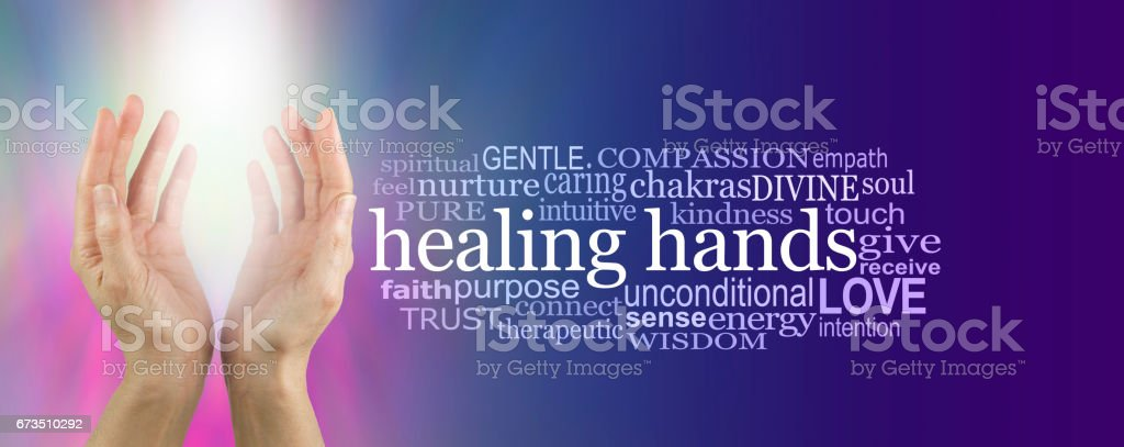 Healing Hands Word Cloud stock photo