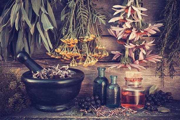 Healing herbs bunches, black mortar and oil bottles stock photo