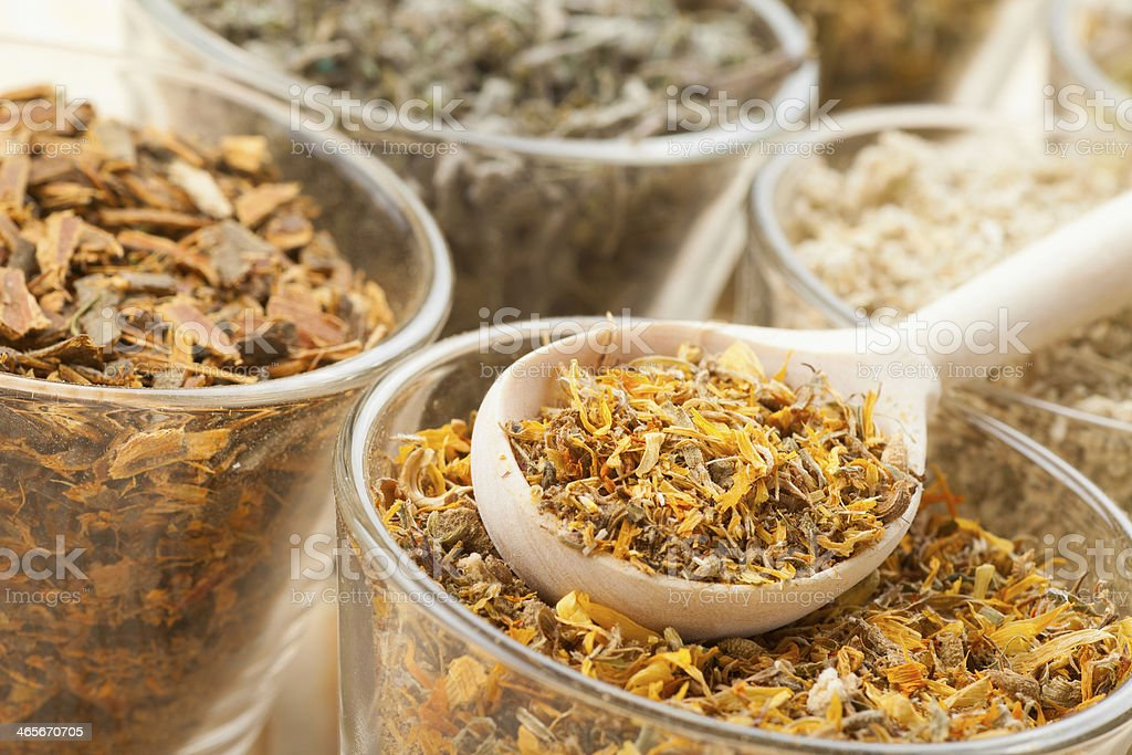 healing herbs in glass cups and wooden spoonicine royalty-free stock photo