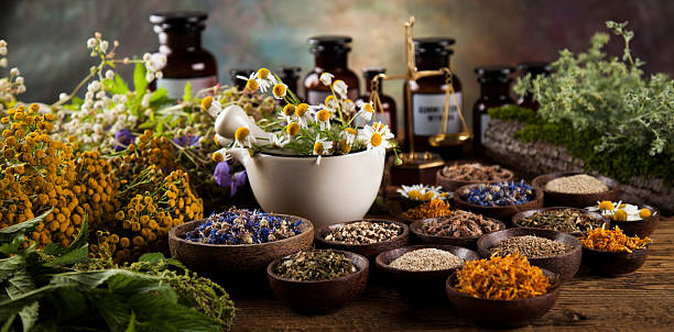 Healing herbs on wooden table, mortar and herbal medicine – Foto
