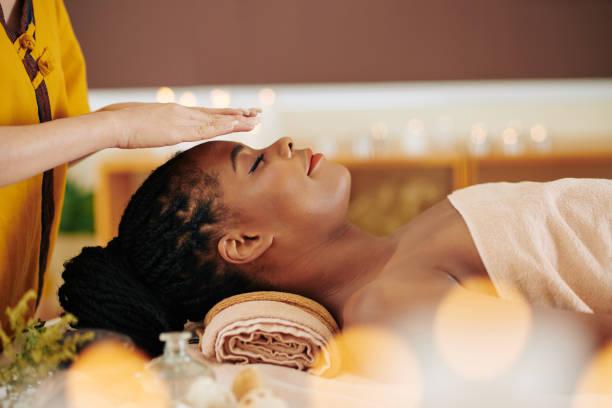 Healing reiki session stock photo