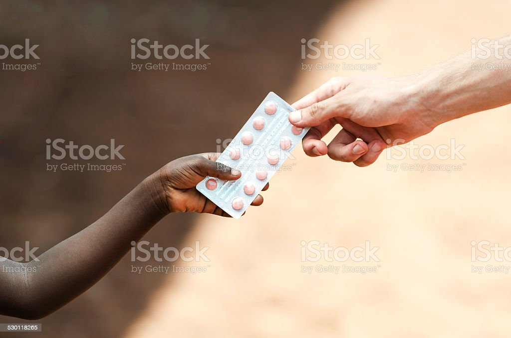 Healing Symbol White Man Helping African Children Stock Photo More