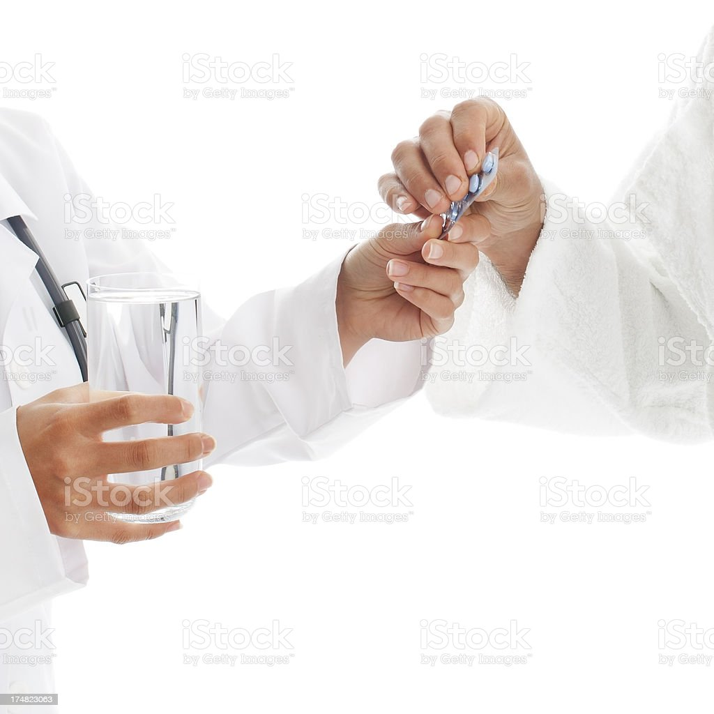 Healtcare worker gives drug the patient stock photo