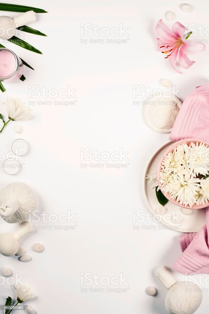 Health and beauty template with Natural spa products stock photo