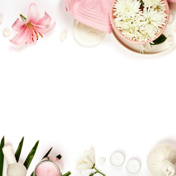 health and beauty template with natural spa products - spa belgium stock photos and pictures