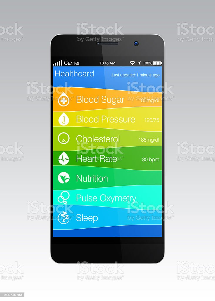 Health and fitness information app for smart phone stock photo