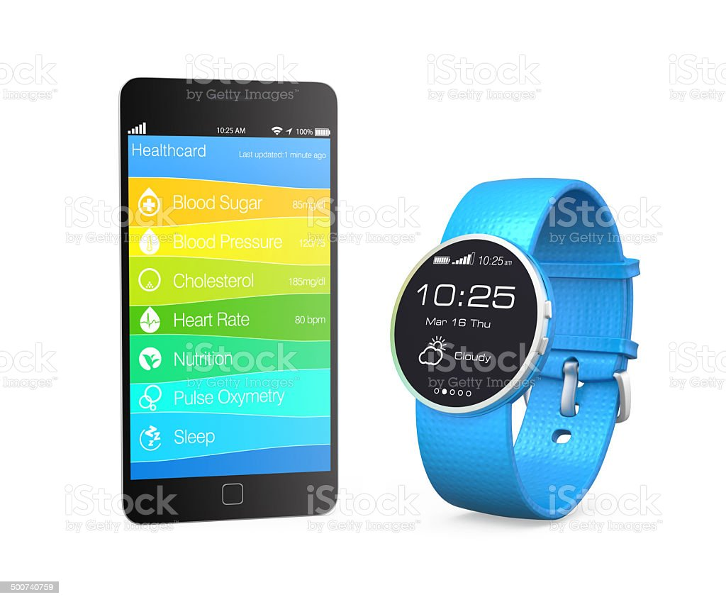 Health and fitness information synchronize from smart watch stock photo