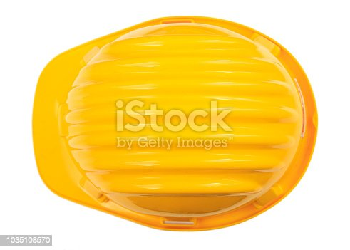 istock Health and Safety. Construction Hard hat isolated on white background. Top view 1035108570