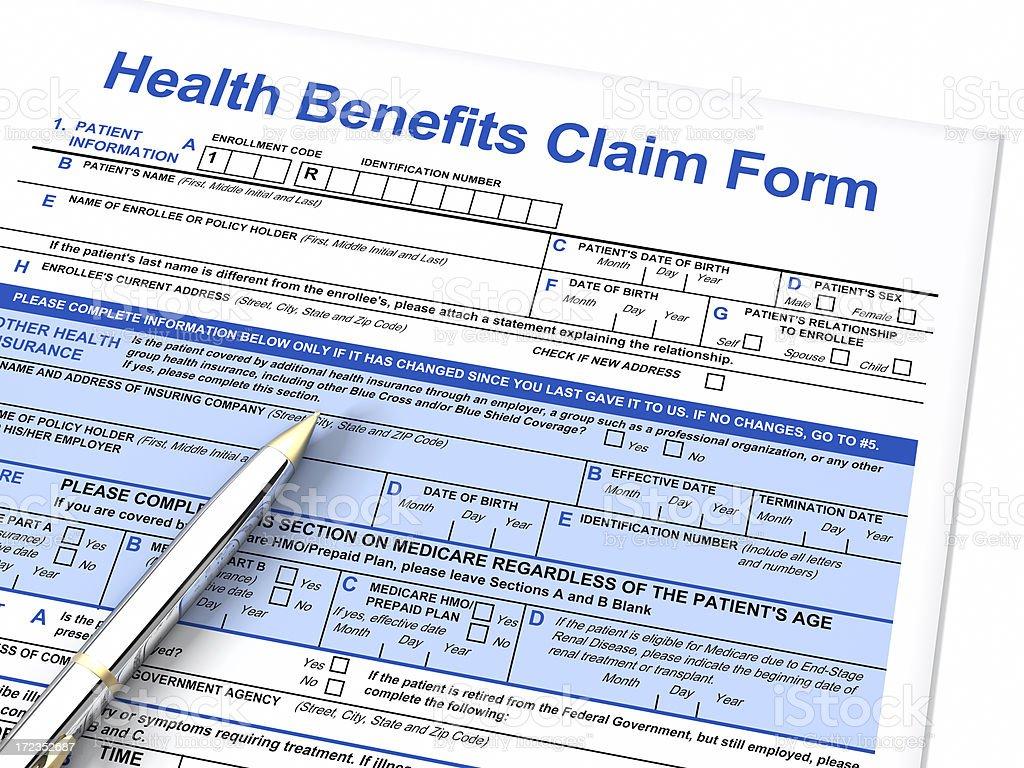 Beneficios de salud formulario de reclamación foto de stock libre de derechos
