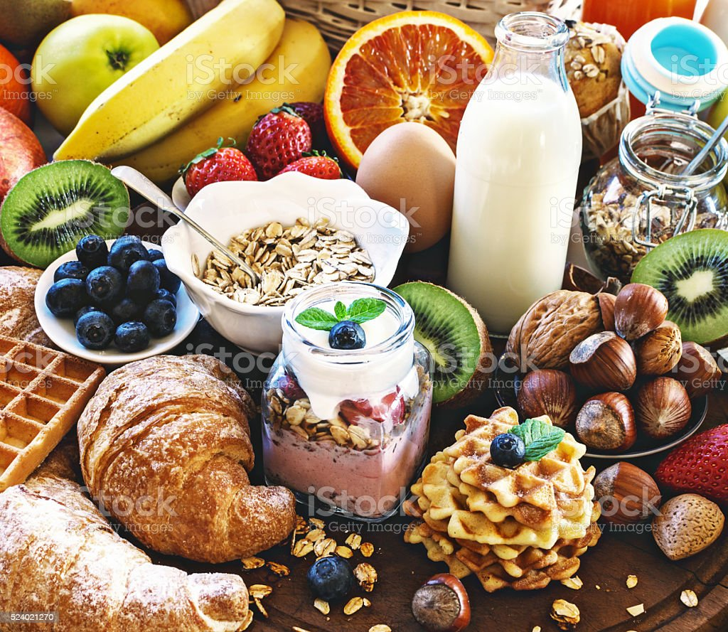 Health breakfast table. stock photo