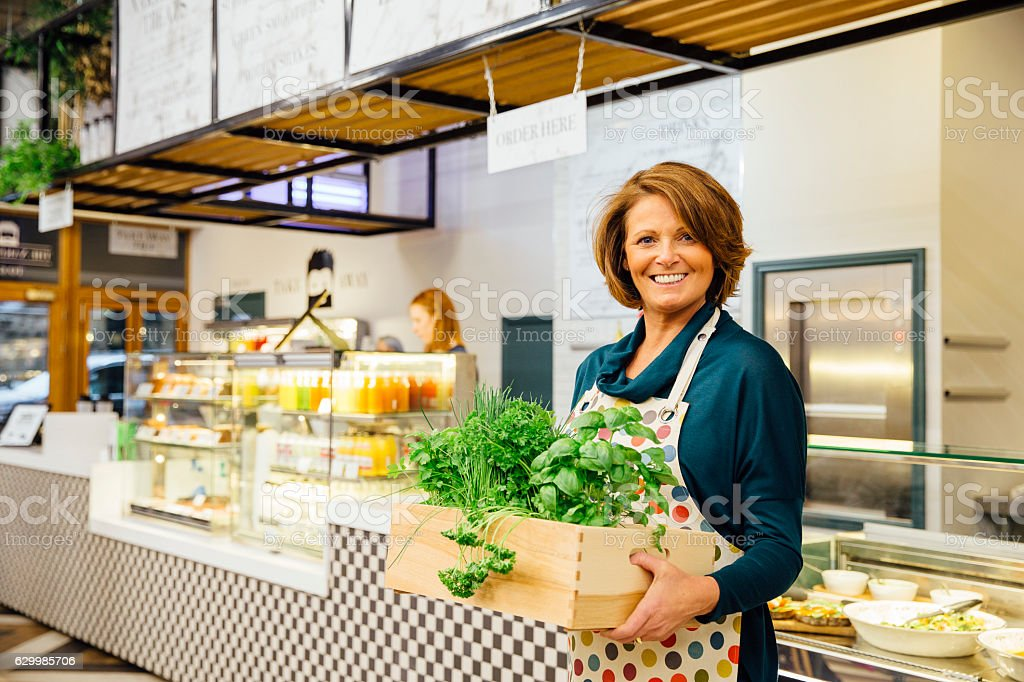 Health Cafe Owner stock photo