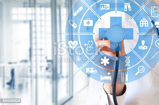 istock Health care and medical concept, circular AR interface, female doctor 844536826