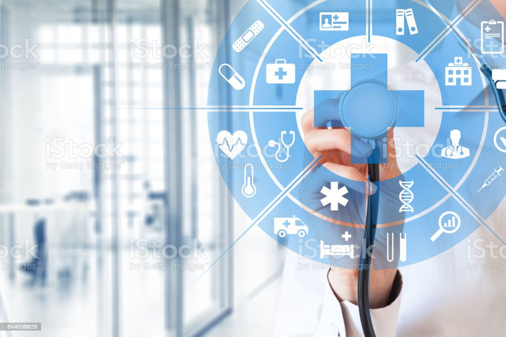 Health care and medical concept, circular AR interface, female doctor stock photo