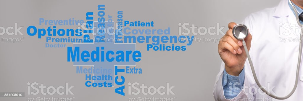 Health Care Concept. Doctor holding a stethoscope and medicare word on gray background. stock photo