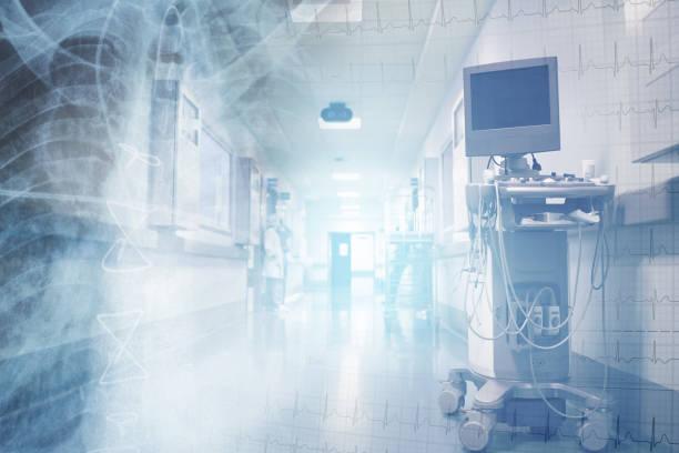 conceito dos cuidados médicos com ecg e imagem do raio x no fundo da equipe de funcionários médica no corredor do hospital - exame médico equipamento médico - fotografias e filmes do acervo