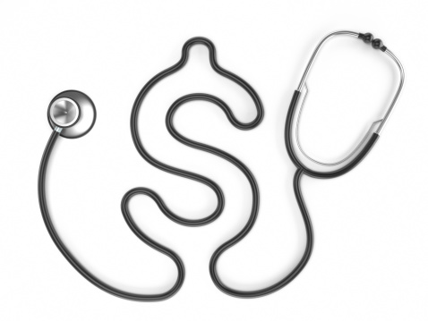 Stetoscope with dollar shaped cord isolated on white.Similar images: