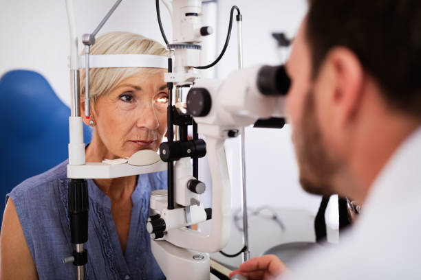 Health care, people, eyesight and technology concept stock photo