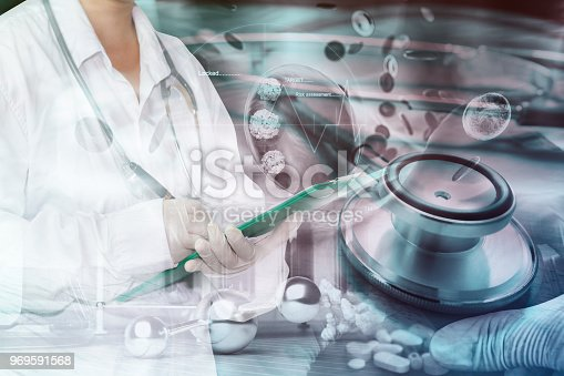 istock Health care system and professionals. Biology lab test health care and technology. 969591568