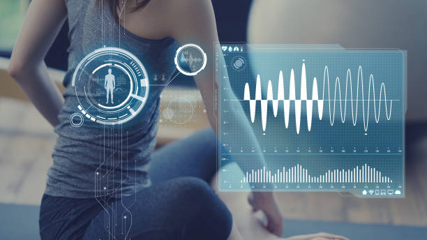 Health care technology concept. Vital sign sensing. Health care technology concept. Vital sign sensing. woman taking pulse stock pictures, royalty-free photos & images