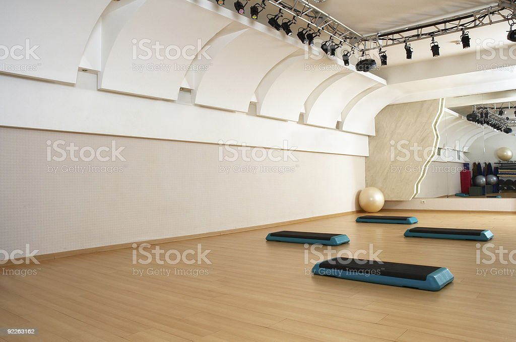 Health club aerobics studio featuring steps royalty-free stock photo