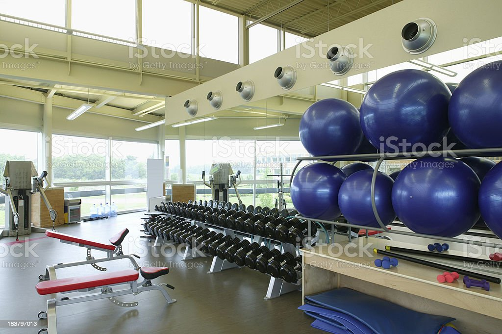 health club gym with ball and weight royalty-free stock photo