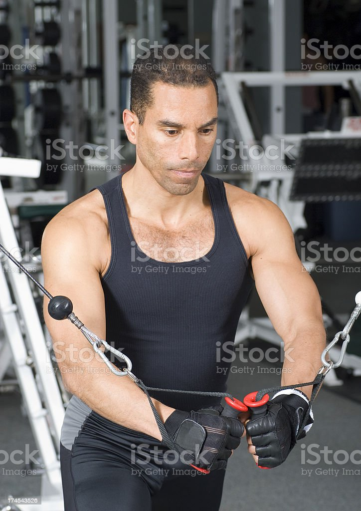 Health Club Workout - Cable Machine royalty-free stock photo