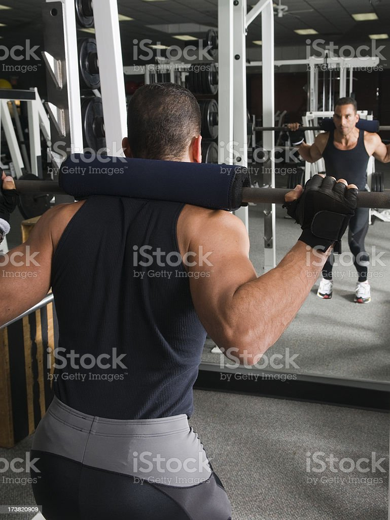 Health Club Workout - Squat Rack royalty-free stock photo