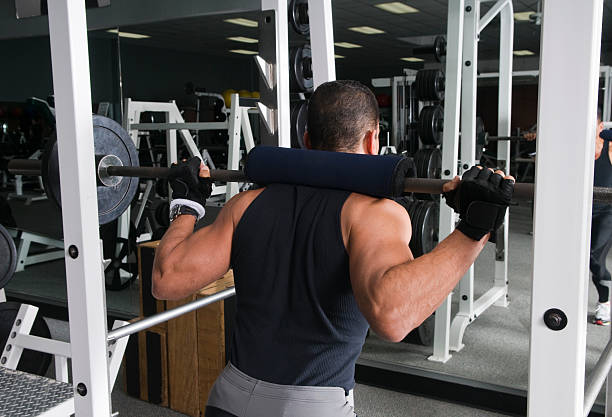 Health Club Workout - Squat Rack stock photo