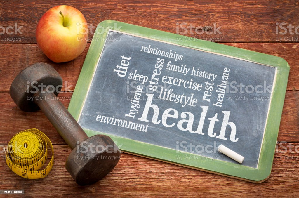 health concept - word cloud of contributing factors stock photo