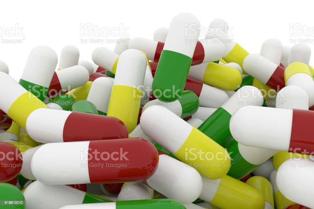 Health Conceptual With Bunch Of Close Up Capsules Medicine Or Pills Isolated On White Background 3d Rendering Image Stock Photo Download Image Now Istock