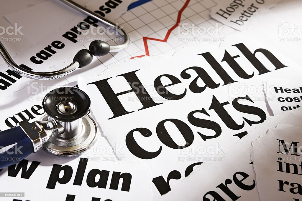 Health cost headlines, stethoscope and rising graph royalty-free stock photo